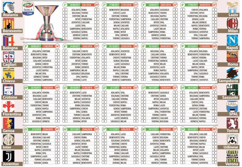 Calendario Serie A 17 18.Calendario Calcio Serie A 2017 2018 Alpenews