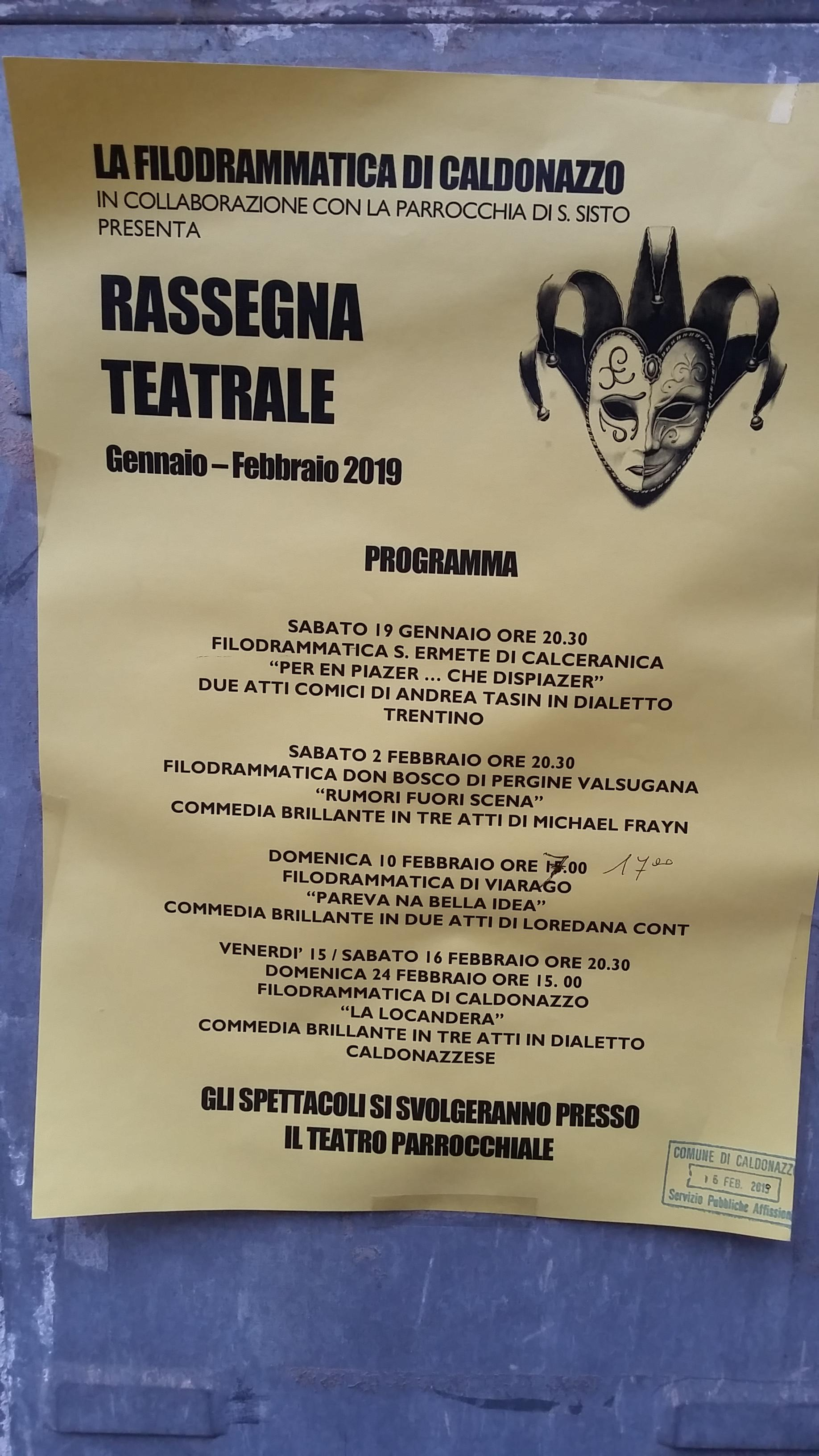 e9ed86b02e Stagione teatrale Teatro San Sisto Caldonazzo gennaio febbraio 2019